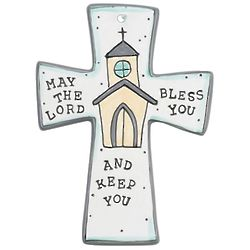 """May the Lord Bless You 7"""" Ceramic Wall Cross"""