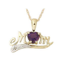 Amethyst and Diamond MOM Yellow Gold Pendant