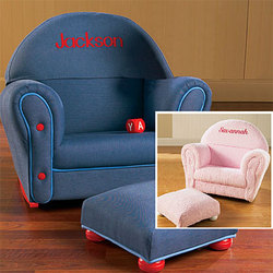Personalized Childrens Rocker with Ottoman