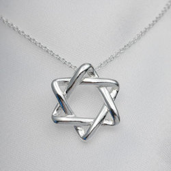 Tiffany Style Star of David Pendant Necklace