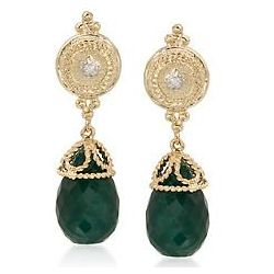 Emerald Earrings with Diamond Accents In 14kt Yellow Gold