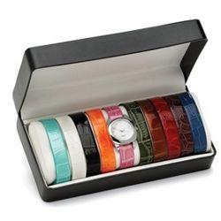 Silvertone Metal Interchangeable Strap Watch Gift Set