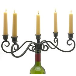 Larissa Wrought Iron 5 Candle Wine Bottle Candelabra