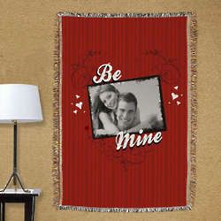 Personalized Be Mine Photo Tapestry Throw Blanket