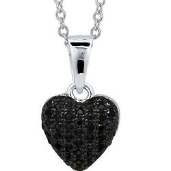 Black Cubic Zirconia Sterling Puffed Heart Pendant Necklace