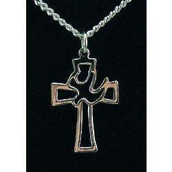 Sterling Silver Dove Cross Pendant
