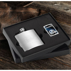 Personalized Dallas Cowboys Zippo and Brushed Flask Gift Set