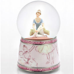 Ballerina Tying Her Shoes Musical Water Globe