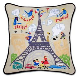 Hand Embroidered Eiffel Tower Pillow