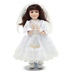 Brunette Personalized First Communion Doll