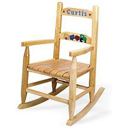 Personalized Wooden Rocking Chair with Train Design