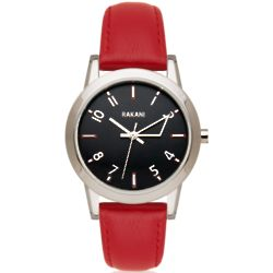 +5 Black with Red Leather Band Watch