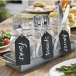 Glass Jars and Tray Set
