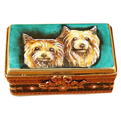 Yorkies Limoges Box with Rectangular Base
