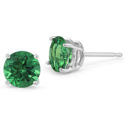 Emerald Stud Earrings in 14 Karat White Gold