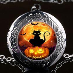 Engravable Black Cat on a Jack o' Lantern Locket