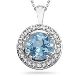 Diamond and Aquamarine Round Pendant in 14K White Gold