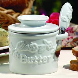 White Raised Floral Butter Bell® Crock & Spreader