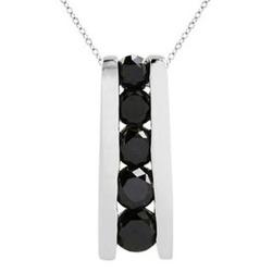 Black Diamond Bar Set Journey Pendant in White Gold