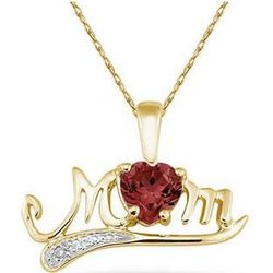 Garnet and Diamond MOM Yellow Gold Pendant