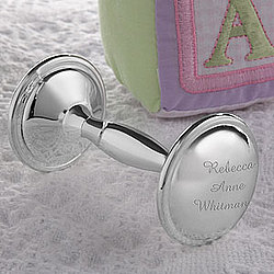 Personalized Silver Plated Baby Rattle