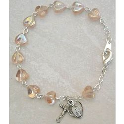 Adult Sterling Silver Rose Heart Rosary Bracelet