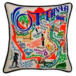 Hand Embroidered Ottawa Pillow