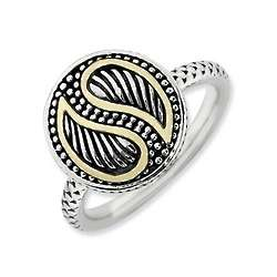 Sterling Silver Ying Yang Ring with 14k Gold