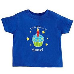 Personalized Primary Cupcake Birthday T-Shirt