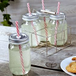 Sippin' Mason Jar Drinking Glasses with Carrier