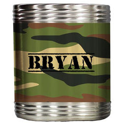 Personalized Woodland Camouflage Stainless Steel Beer Koozie