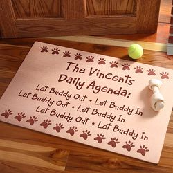 Personalized Daily Agenda Pet Door Mat