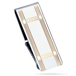 Sterling Silver Hinged Striped Border Money Clip