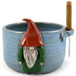 Garden Gnome Stoneware Pottery Dip Bowl