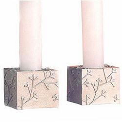 Branches Pewter Candlestick Set