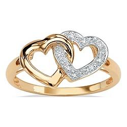 Diamond Accent 10k Gold Interlocking Heart Ring
