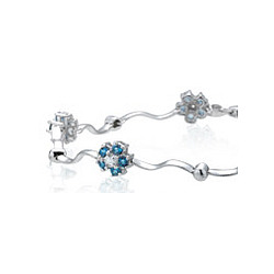 Diamond and Aquamarine Bracelet in 14K White Gold