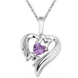 Amethyst and Diamond Heart MOM White Gold Pendant