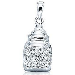 14k White Gold Diamond 2D Baby Bottle Bracelet Charm