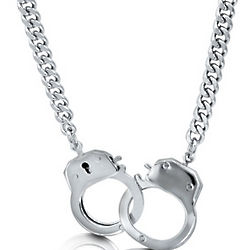 Silver Tone Bold Openable Handcuffs Necklace