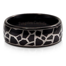 Mens Black Leopard Tungsten 8mm Comfort Fit Ring Band