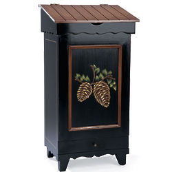 Hand-Painted Wood Storage Bin with Pine Cone Design