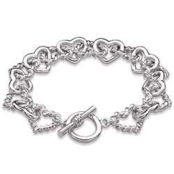 Silver Plated Linked Hearts Toggle Bracelet