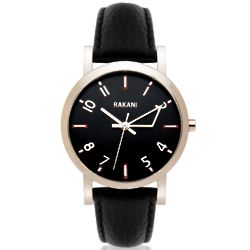 +5 40mm Black with Black Leather Band Watch