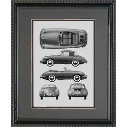 Porsche 356 Framed 11x14 Blueprint