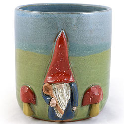 Garden Gnome Stoneware Pottery Utensil Holder