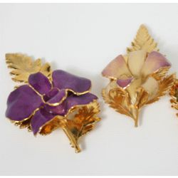 Orchid Brooch with 24kt Gold Mother Fern