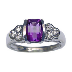 Barrel Cut Amethyst and Diamond Ring