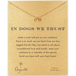 """In Dogs We Trust"" Gold Dog Bone Necklace"