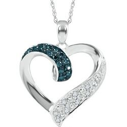 Sterling Silver Blue and White Diamond Heart-Shaped Necklace